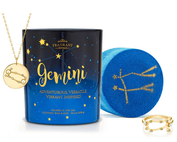 Gemini Astral Ring Bath Bomb and Necklace Candle