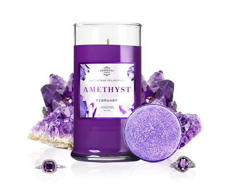 February Birthstone: Amethyst Candle & Bath Bomb Set