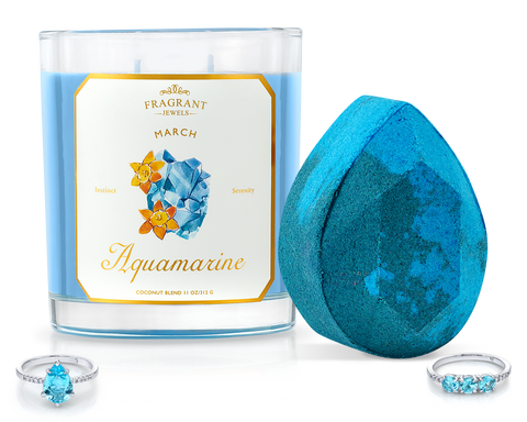 Aquamarine - March Birthstone Collection - Candle and Bath Bomb Set - Inner Circle