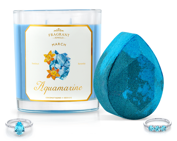 Aquamarine - March Birthstone Collection - Candle and Bath Bomb Set