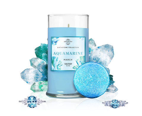 March Birthstone: Aquamarine Candle & Bath Bomb Set