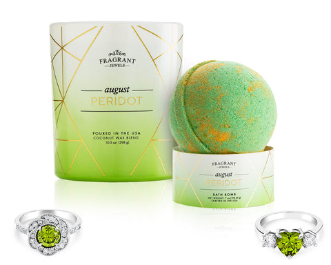 Peridot: August Birthstone - Candle and Bath Bomb Gift Set