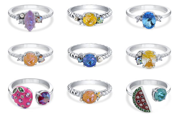 Beach Adventure Crystal DeLite Ring Collection