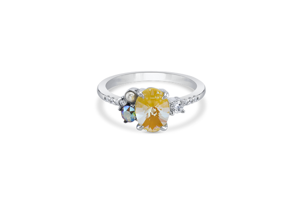 Silver Crystal DeLight Ring with Yellow Center Stone