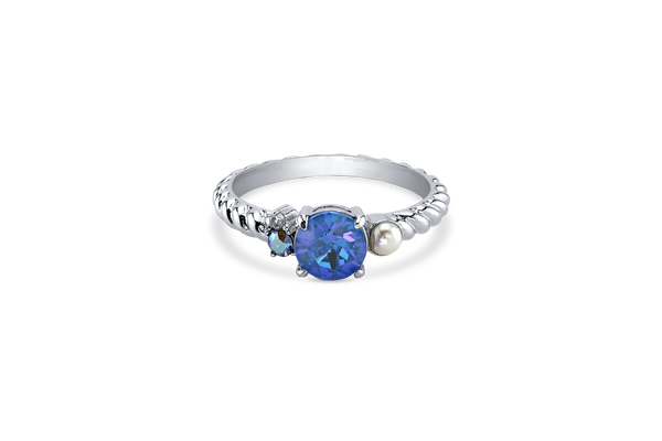 Silver Plated Ring with Blue Swarovski Crystal DeLite Center Stone