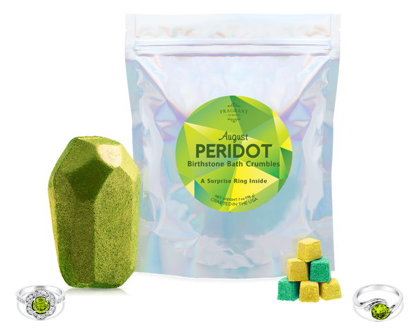 Peridot: August Birthstone - Bath Bomb and Bath Crumbles Set