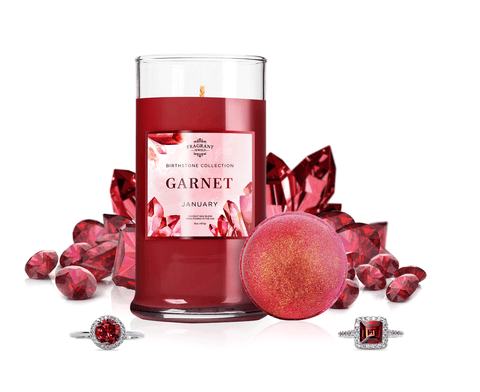 January Birthstone: Garnet Candle & Bath Bomb Set