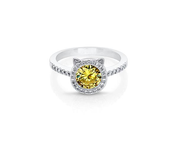 Cat Rose Silver Plated Ring with Yellow Center Stone