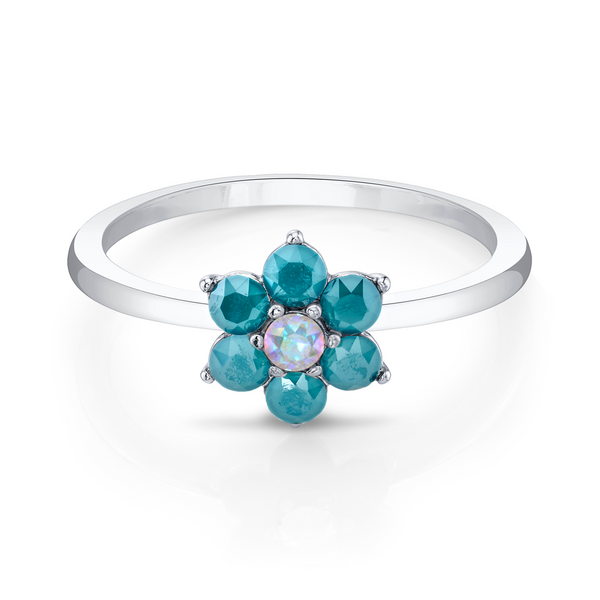 Daisies Crystal Aurore Boreale Ring