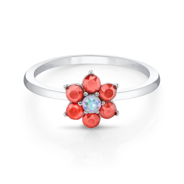 Silver Daisies Ring with Crystal Aurore Boreale
