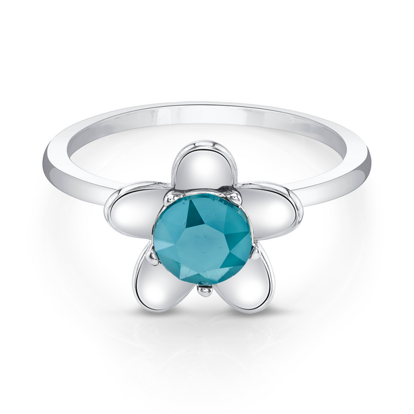 Daisies Silver Ring with Blue Center Stone