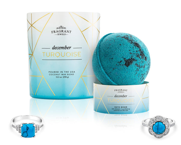 Turquoise: December Birthstone - Candle and Bath Bomb Gift Set