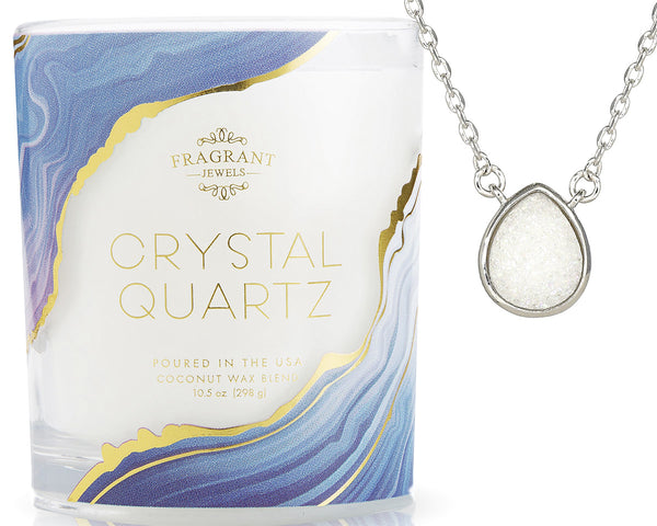 Crystal Quartz Geode Necklace Candle