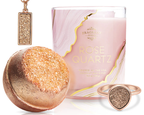 Rose Quartz Druzy - Candle and Bath Bomb Set