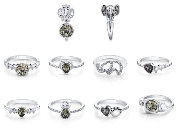 Elephant Silver Night Swarovski Crystals Ring Collection