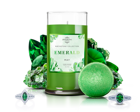 May Birthstone: Emerald Candle & Bath Bomb Gift Set - Inner Circle