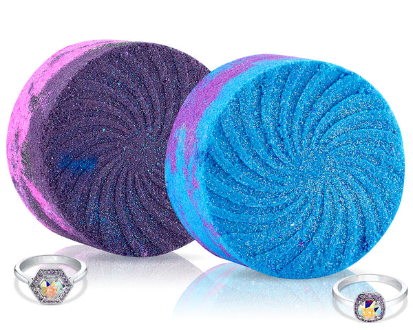 Galaxy Bath Bomb Duo with Ring