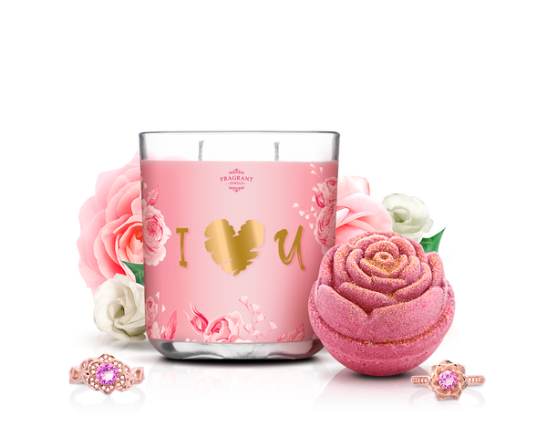 I Heart U - Candle & Bath Bomb Set