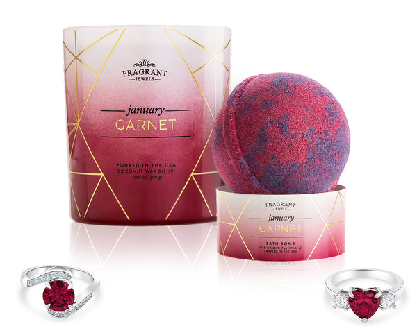 Garnet: January Birthstone - Candle and Bath Bomb Gift Set