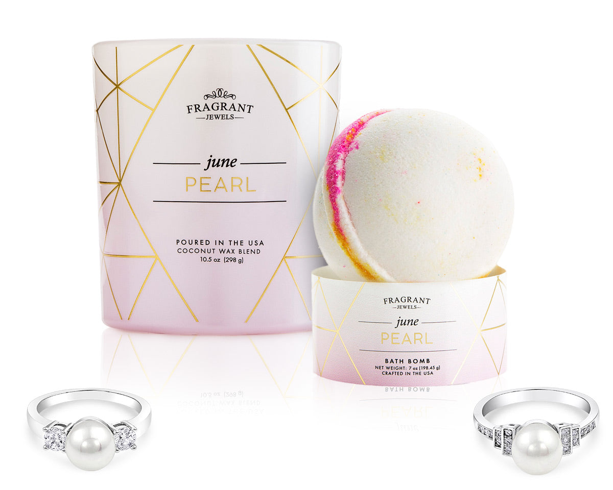 Pearl: June Birthstone - Candle and Bath Bomb Gift Set