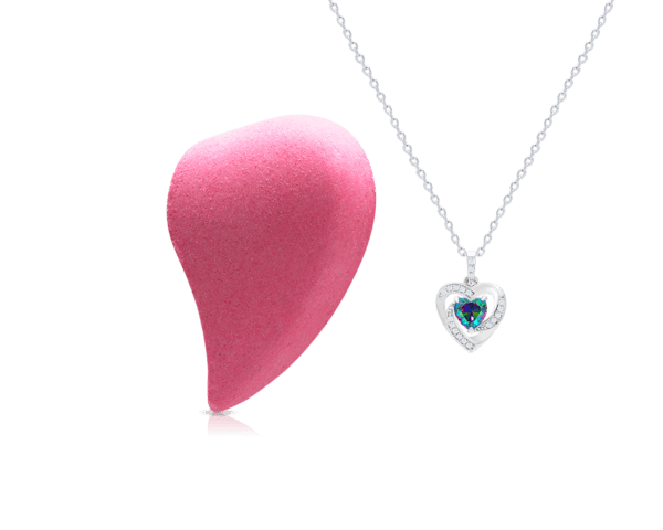 Bath Bomb with Heart Necklace Center Stone