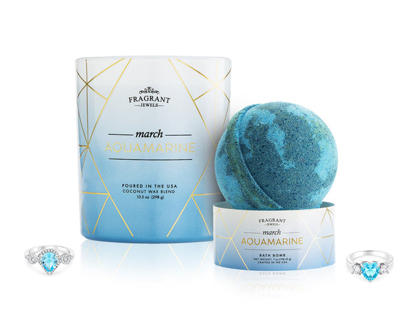 Aquamarine: March Birthstone - Candle and Bath Bomb Gift Set