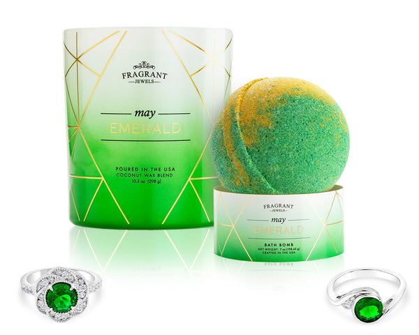 Emerald: May Birthstone - Candle and Bath Bomb Gift Set