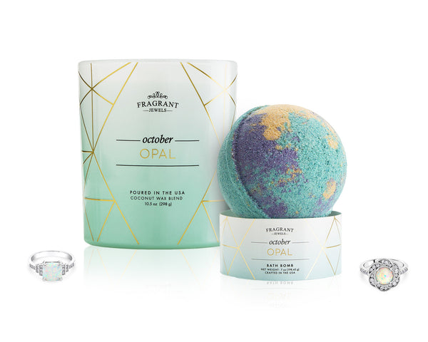 Opal: October Birthstone - Candle and Bath Bomb Set