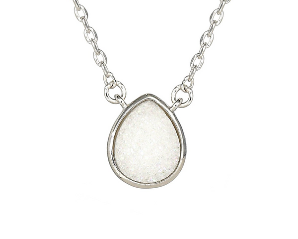 Crystal Quartz Geode Silver Necklace