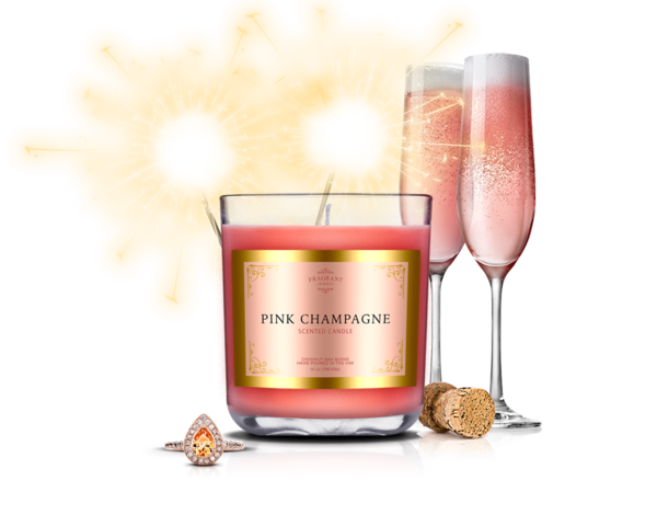 Champagne Candle with Rings