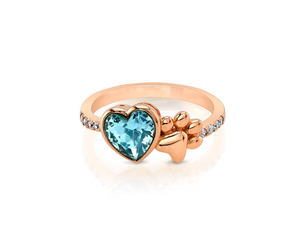 Rose Gold Paw Ring with Heart Shaped Stone