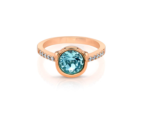Round Aquamarine Stone with Rose Gold Plated Band