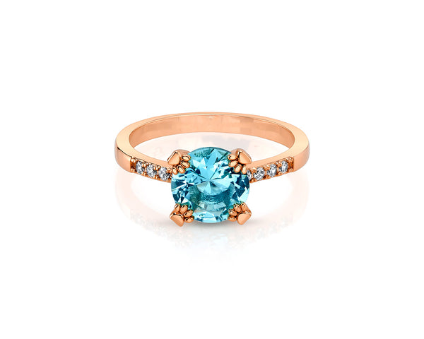 Rose Gold Ring with Aquamarine Solitaire