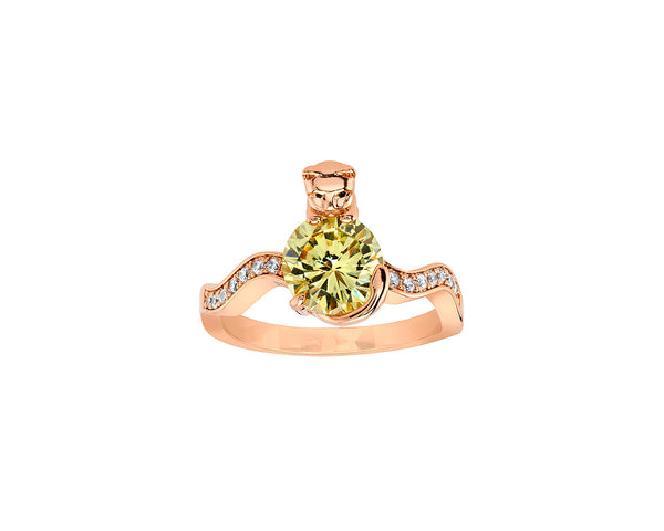 Rose Gold Cat Ring with Yellow Round Cushion Stone