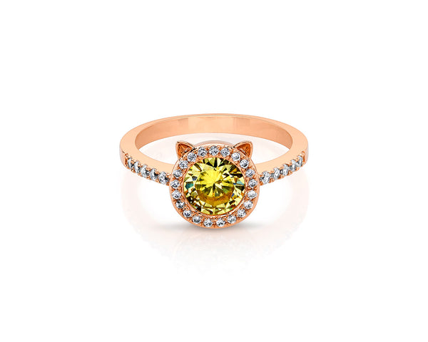 Cat Rose Gold Plated Ring with Yellow Center Stone