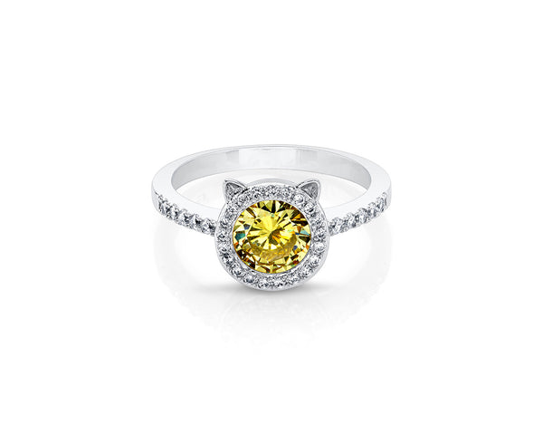 Silver Cat Ring with Yellow Round Cushion Stone