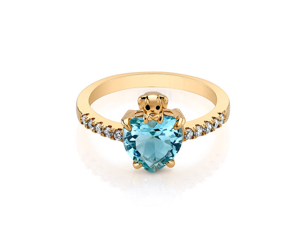 Gold Plated Ring with Aquamarine Heart Shape Stone