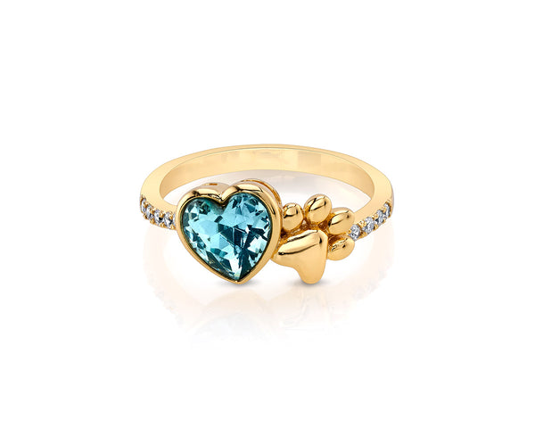 Gold Paw Ring with Heart Crystal