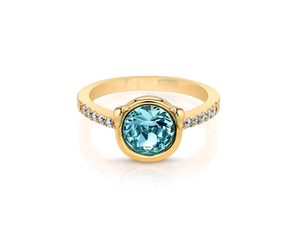 Round Aquamarine Stone with Gold Plated Band
