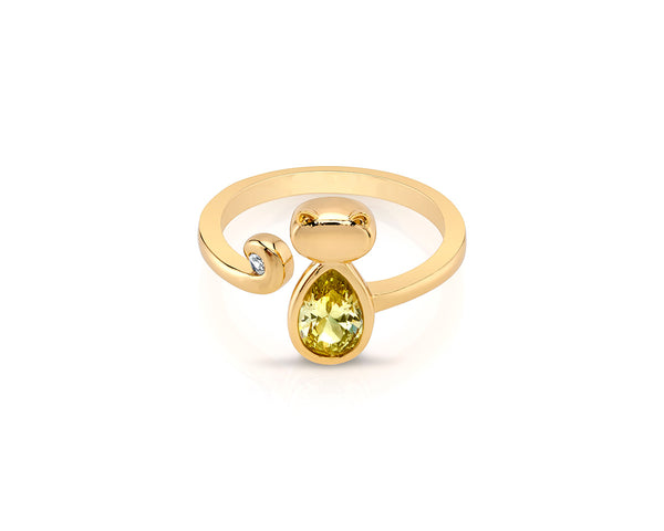 Cat Open Gold Ring with Yellow Crystal