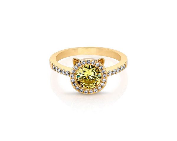 Gold Cat Ring with Yellow Round Cushion Stone