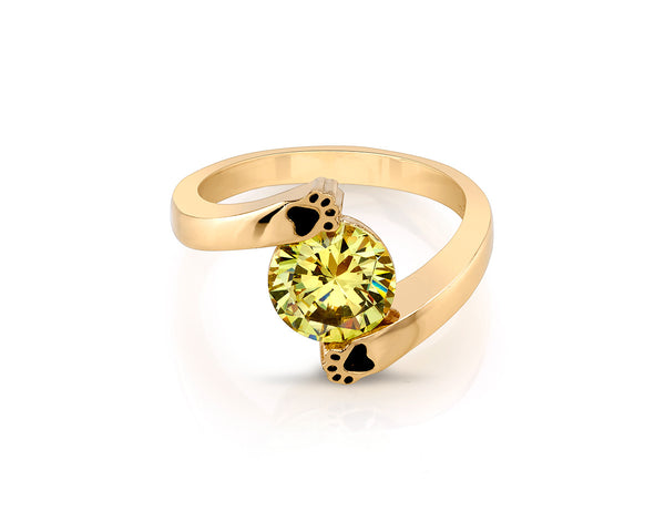 Cat Paw Gold Ring with Yellow Stone