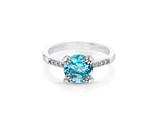 Silver Plated Ring with Aquamarine Solitaire