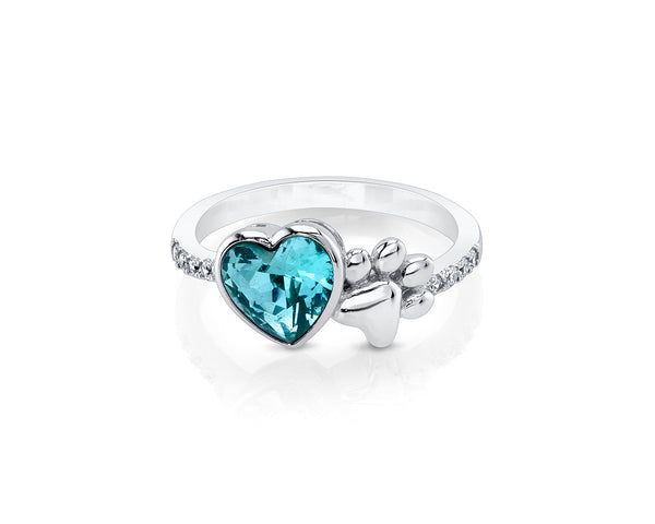 Silver Paw Ring with Aqua Heart Shape Stone