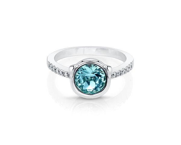 Round Aquamarine Stone with Silver Plated Band