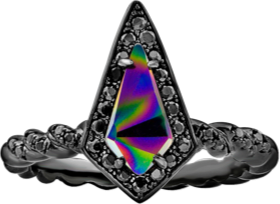 Black Ring with Iridescent Swarovski Rainbow Dark Crystal Center