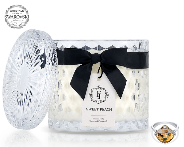 Sweet Peach - Black Satin - Jewel Candle