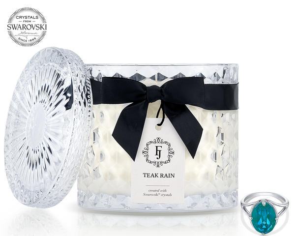 Teak Rain - Black Satin - Jewel Candle