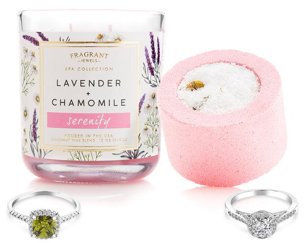 Chamomile Ring Bath Bomb and ring candle