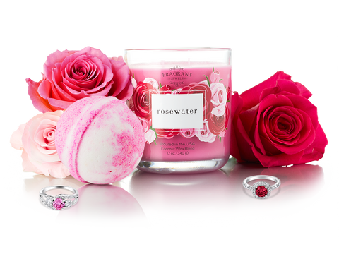 Rosewater - Candle and Bath Bomb Gift Set
